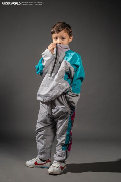 "Windbreaker Kinder Trainingshose Modell F3 ""MAX"" Grau Breakdance Hose Kids"